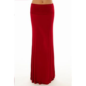 Fold Over Wine Maxi Skirt