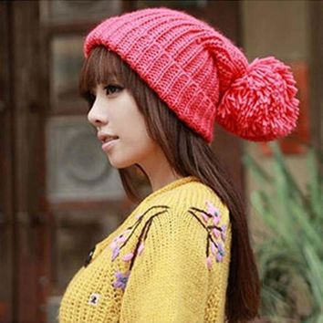 LMFCI7 New Fashion Designer Oversized Women's Winter Slouch Knit Cap Warm Cuffed Beanie Colors Wool Crochet  Hat