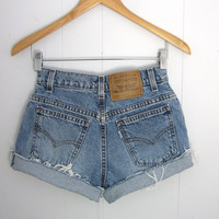 Vintage 90s Levi's Mid High Waisted Cut Off Denim Shorts Blue Jean Cuffed 25""