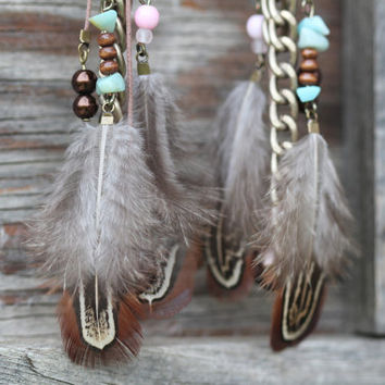 Feather Earrings  MultiLayered Eclectic Bohemian Feather Earrings with Amazonite Chips, Antique Bronze Chain, Glass and Wooden Beads. by ArtisanTree
