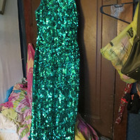 80S Ashley Ames New York emerald green beaded sequin pure silk long formal gown dress  sz 6