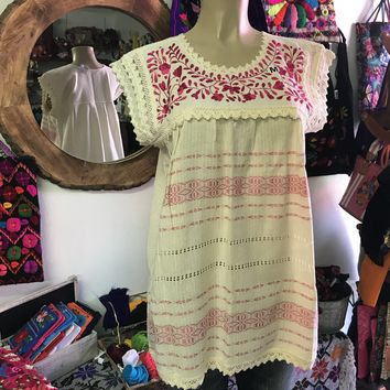 Mexican Oaxaca Cream Blouse with Hot Pink Embroidery