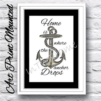 Nautical illustration art print mounted. Anchor and travel quotation 3d effect with dictionary book page background. Wall decor poster gift.