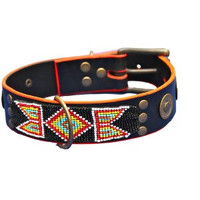 "Leather dog collars ""HIPPIE ROSE"" and dog leashes, Ibiza, bohemian, hippy style."