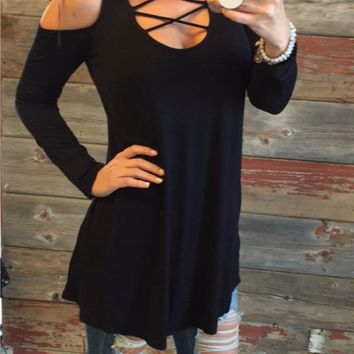Fall for Me Cold Shoulder Tunic