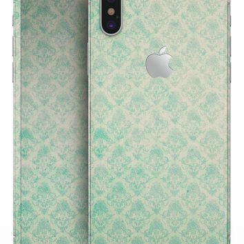 Micro Faded Teal Rococo Pattern - iPhone X Skin-Kit