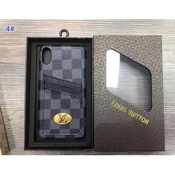 LV & GUCCI Fashion New Monogram Tartan Print Women Men Protective Cover Phone Case 4#