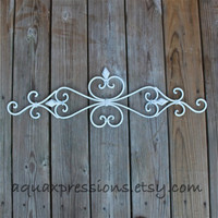White Metal Wall Fixture /Distressed Patio Decor /Painted Bright /Distressed /Outdoor Up Cycled Iron Art