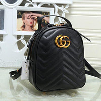 Gucci Trending Pure Color Leather Double G Bookbag Shoulder Bag Handbag Backpack Black