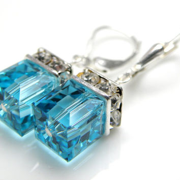 Light Turquoise Crystal Earrings, Teal Swarovski Cube Earring Bridesmaid Wedding Handmade Jewelry Sterling Silver, March Birthstone Birthday