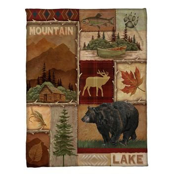 Lodge Collage Fleece Throw