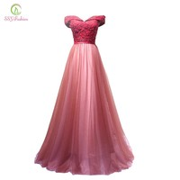 New Wine Red Lace Evening Dress Bride Banquet Sweetheart Boat Neck Floor-length Lace Party Formal Dress Custom