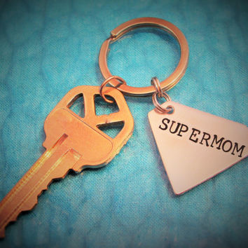 Supermom Mothers Day Gift Superhero Small Sized SUPERMOM Key chain Fob Hand Stamped Aluminum  Key Chain,