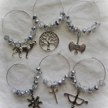 Game of Thrones Inspired Wine Glass Charms Stark Set 6 Snowflake Sword Tree Wolf Bow Arrow Axe, Faceted Crystal Beads, Silver-plate Wire GOT