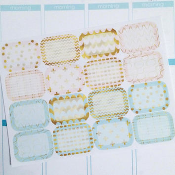 Pink and Mint Gold Half Box Planner Stickers- 16 count