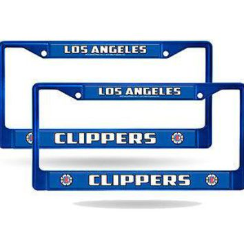 Los Angeles Clippers Blue Painted Chrome Metal (2) License Plate Frame Set