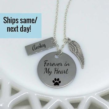 Pet Loss Jewelry, Pet Memorial Necklace, Pet's Name, Paw Print, Dog Lover Necklace, Pet Loss, Pet Memorial Jewelry, Loss of Pet, Loss of Dog