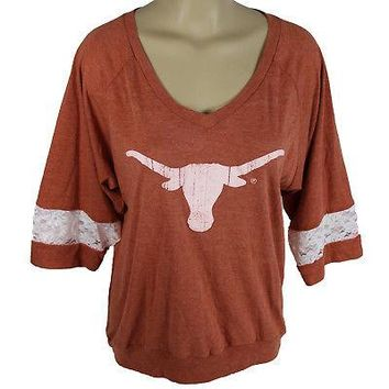 Licensed Texas Longhorns Loose-fitting V-neck Tee Shirt W/ Lace Insets In The Sleeves KO_19_1