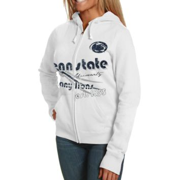 Penn State Nittany Lions Ladies White Retro Distressed Full Zip Hoodie Sweatshirt