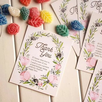 """Free Shipping 100pcs/lot """"thank you"""" greeting Card Thanksgiving Card Message Blessing Card  Fresh Flowers small Greeting Card"""