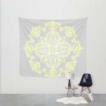 Pale Lemon Yellow Lace Mandala on Grey Wall Tapestry by Micklyn