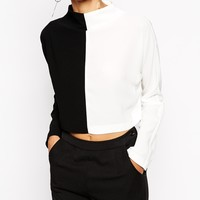 ASOS Funnel Neck Colour Block Long Sleeve Top at asos.com