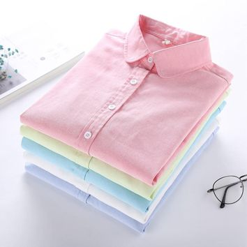 Brand Women Blouses 2017 Spring New Fashion Women Shirts Plus Size Blouse Long Sleeve Oxford Casual Shirt Office Female Tops XXL
