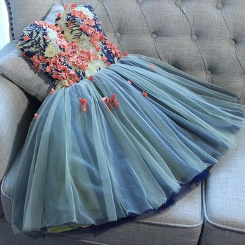 Unique Sweetheart Tulle Mini Homecoming Dress with Flowers,A Line Short Prom Gown N914