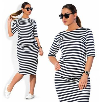 Size Plus Brand Women Clothing O Neck Zebra Striped Dress Europe Large Big Size Casual Dress Vestidos designer clothes