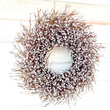 Winter Wreath-Christmas Wreath-ANTIQUE WHITE TWIG Wreath-Rustic Twig Door Wreath-Holiday Door Decor-Rustic Home Decor-Choose  Scent & Size