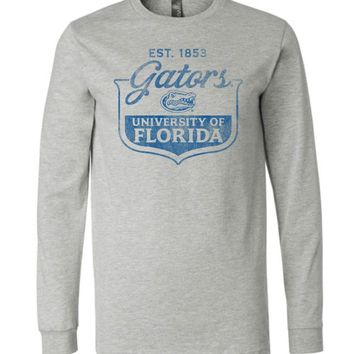 Official NCAA University of Florida Gators The Orange and Blue GATOR NATION! 1853 Canvas Long Sleeve T-Shirt - 07uf-1