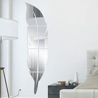 Feather fitting 3D Acrylic solid mirror sticker hallway washroom decoration - SILVER