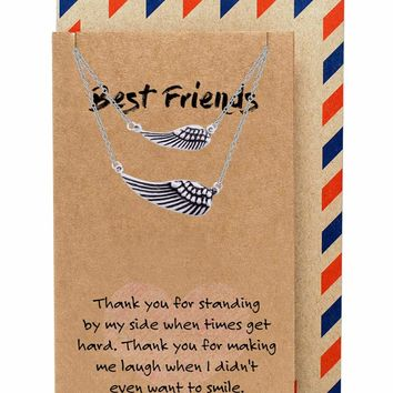 Kinsley Best Friend Necklaces for Women with Angel Wing Pendant, Silver Tone