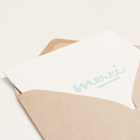 Postcard type square format handprinted - soft blue pastel - kraft envelope - Merci Thank you