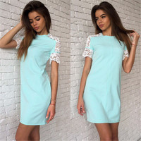 2016 Women Summer Style Fashion Lace sleeve Dresses White&Pink&Bule 3 Colour O-Neck Casual Party Dress Vestidos