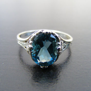 Fall Sale, 15% Off, New Sterling Silver Antique Style Filigree Ring With 3 Carat Natural Dark Blue Topaz