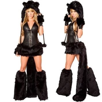New Sexy Black Teddy Bear Costume for Adult cat girl Cosplay Costume Halloween Costumes for Women Fantasia Cosplay Fancy Dress