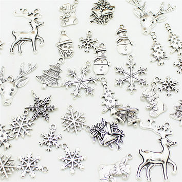 50pcs Mixed Antique Silver Color Christmas Boot Snowman Boot Snowflake Charms Pendants Jewelry Making Accessories DIY 0977