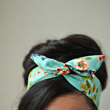 Floral mint dolly bow headband , Chic Head wrap