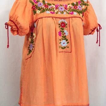 """La Antiguita"" Embroidered Mexican Style Peasant Blouse - Orange Cream"
