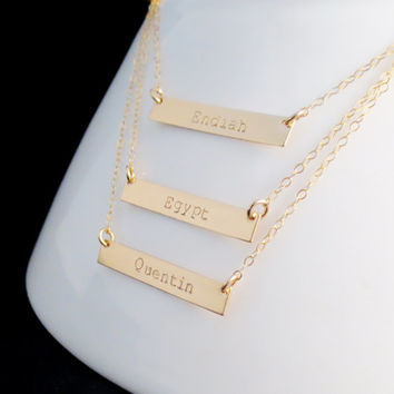 Personalized Gold Bars Necklace, Layered Handstamped Kids Children, Mrs Roman Numerals, Rectangle Handstamped, Mothers Day, Gift Present