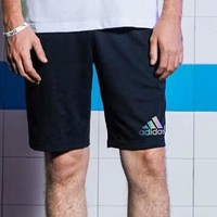 Adidas Fashion Men Loose Reflective Logo Print Drawstring Sport Shorts I-CY-MN