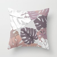 Rose Marble Monstera Throw Pillow by littlebiscuit
