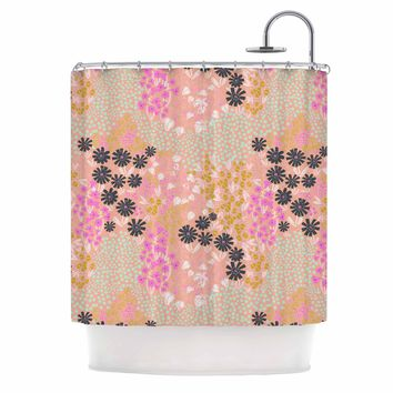"Akwaflorell ""Colorful Garden"" Coral Multicolor Illustration Shower Curtain"
