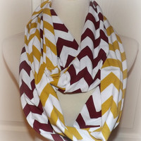 NEW!! Maroon & Mustard LONG Chevron 2 Pair Team Scarves Jersey Knit Infinity Redskins