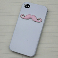 Pink Moustache White Hard Case Cover for Apple iPhone 4 Case