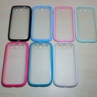 For Samsung Galaxy S3 Silicone Bumper & Frosted Hard Plastic Back Case