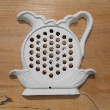 Shabby Chic Painted Antique White Cast Iron Kitchen Trivet Creamer  Wall Hanging Decoration Silhouette black silhouette Vintage Housewares