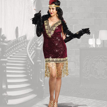 Plus Size Burgundy & Gold Sequin Sophisticated Lady Fringe Flapper Costume