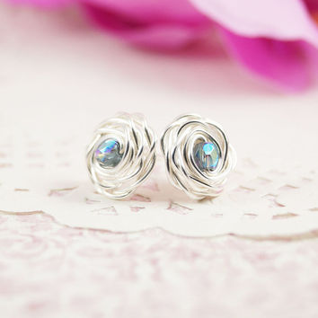 Simple Rose Studs Sterling Silver Earrings, Blue Glass Beads, Silver Wire Rose, WireWrapped Jewelry, Small Earrings, Sterling Silver